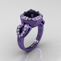Classic French 14K Violet Gold 1.0 Ct Black and White Diamond Engagement Ring R363-14KVGDBD