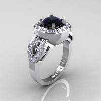 Classic French 14K White Gold 1.0 Ct Black and White Diamond Engagement Ring R363-14KWGDBD