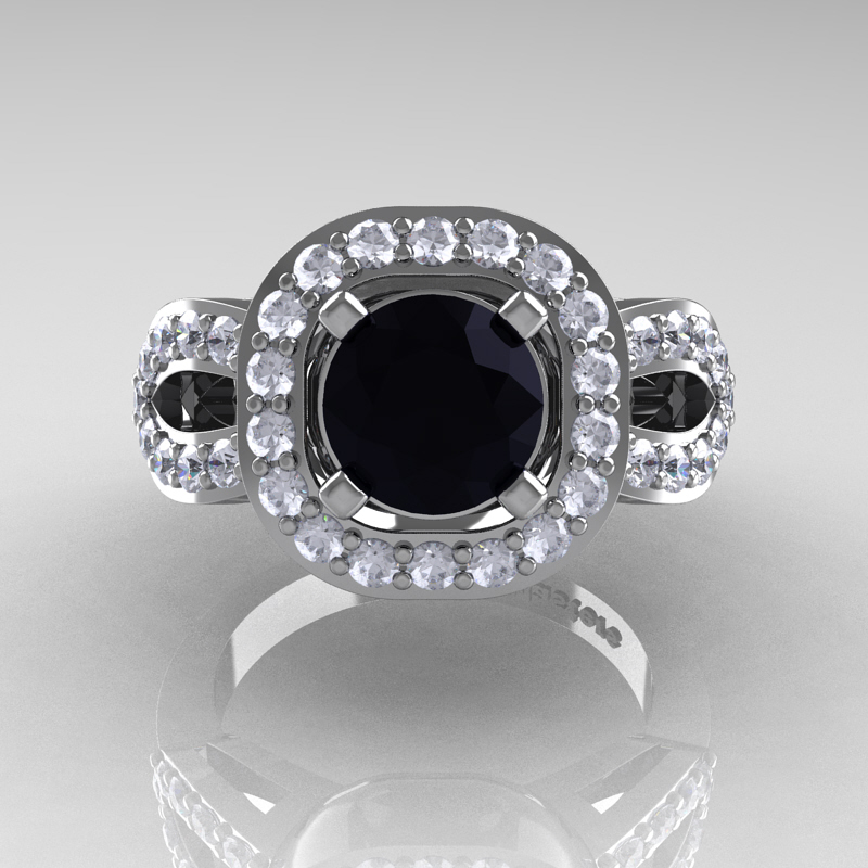 classic 14k white gold 1 0 ct black and white