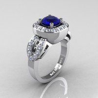 Classic French 14K White Gold 1.0 Ct Blue Sapphire Diamond Engagement Ring R363-14KWGDBS