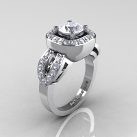 Classic French 14K White Gold 1.0 Ct White Sapphire Diamond Engagement Ring R363-14KWGDWS