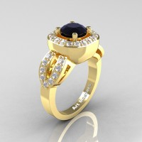 Classic French 14K Yellow Gold 1.0 Ct Black and White Diamond Engagement Ring R363-14KYGDBD