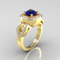 Classic French 14K Yellow Gold 1.0 Ct Blue Sapphire Diamond Engagement Ring R363-14KYGDBS