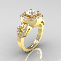 Classic French 14K Yellow Gold 1.0 Ct White Sapphire Diamond Engagement Ring R363-14KYGDWS