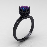 Classic 14K Black Gold Marquise Black Diamond 1.0 Ct Round Alexandrite Solitaire Ring R90-14KBGBDAL
