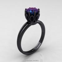Classic 14K Black Gold Marquise Black Diamond 1.0 Ct Round Alexandrite Solitaire Ring R90-14KBGBDAL