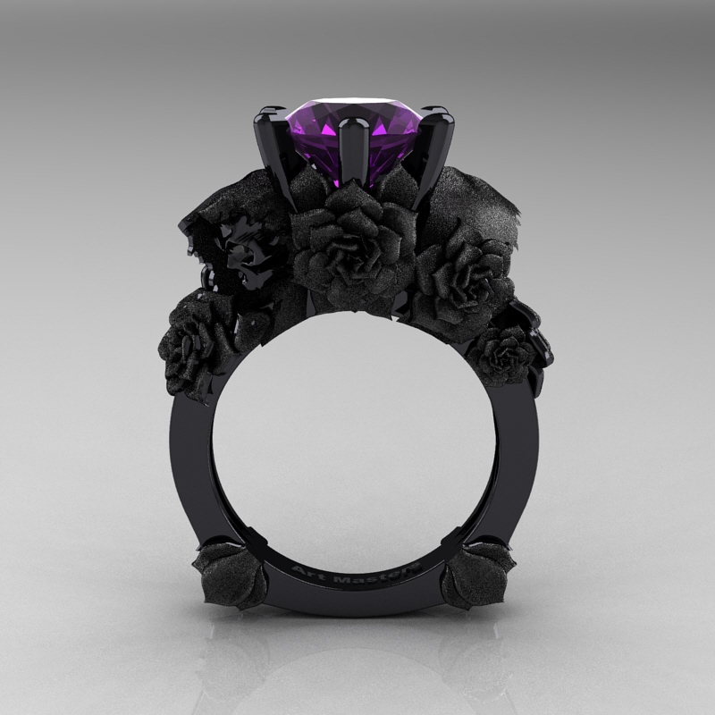 Love and Sorrow 14K Black Gold 3 0 Ct Amethyst Skull and Rose