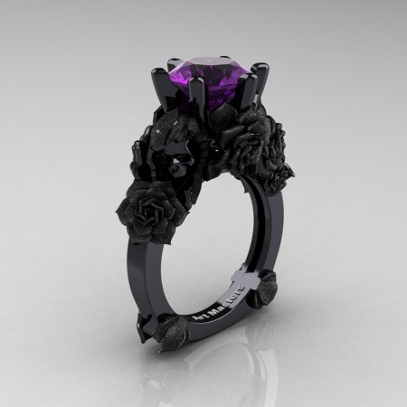 Love and Sorrow 14K Black Gold 3.0 Ct Amethyst Skull and Rose Solitaire Engagement Ring R713-14KBGSAM