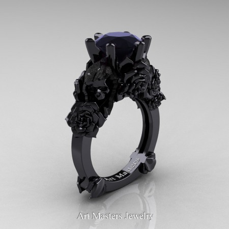 Love and Sorrow 14K Black Gold 3.0 Ct Black Diamond Skull and Rose Solitaire Engagement Ring R713-14KBGSBD