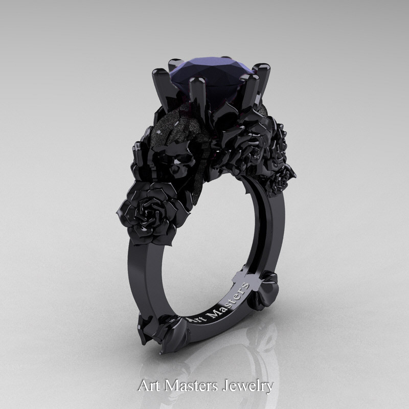 Black Gold Engagement Ring With Pink Stone