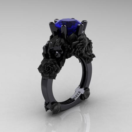 Love and Sorrow 14K Black Gold 3.0 Ct Blue Sapphire Skull and Rose Solitaire Engagement Ring R713-14KBGSBS