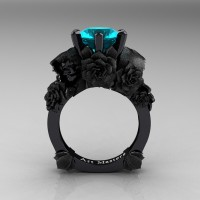 Love and Sorrow 14K Black Gold 3.0 Ct Blue Zircon Skull and Rose Solitaire Engagement Ring R713-14KBGSBZ