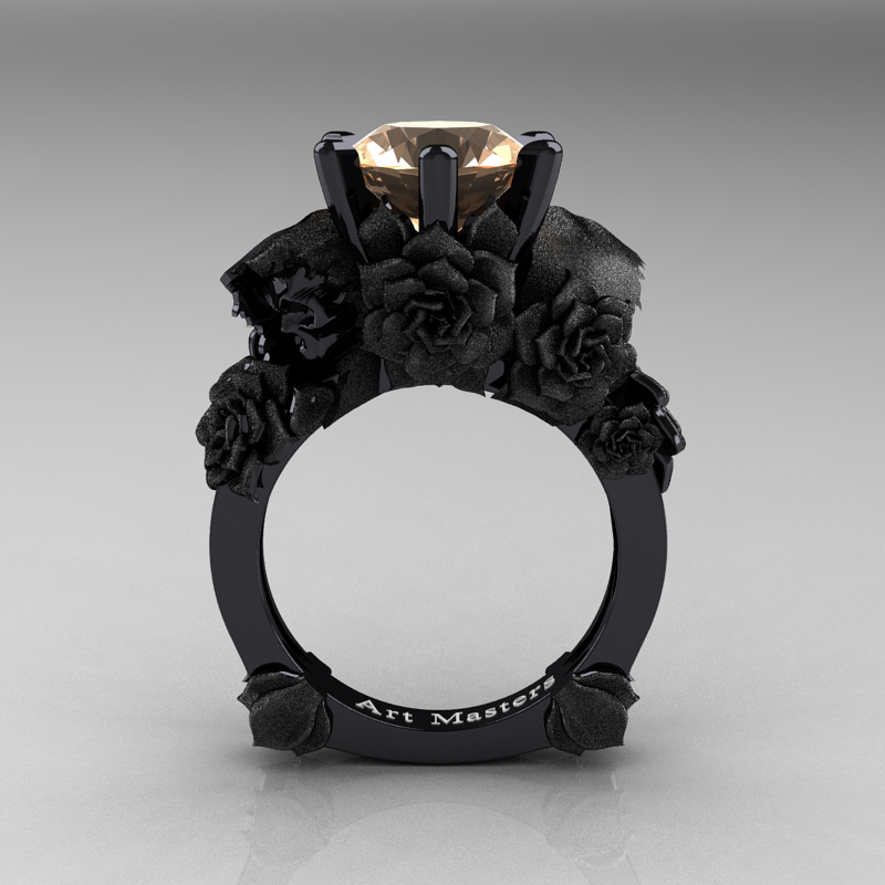 love and sorrow 14k black gold 30 ct champagne diamond skull and rose solitaire engagement ring - Skull Wedding Rings