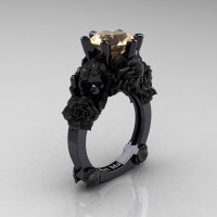 Love and Sorrow 14K Black Gold 3.0 Ct Champagne Diamond Skull and Rose Solitaire Engagement Ring R713-14KBGSCHD