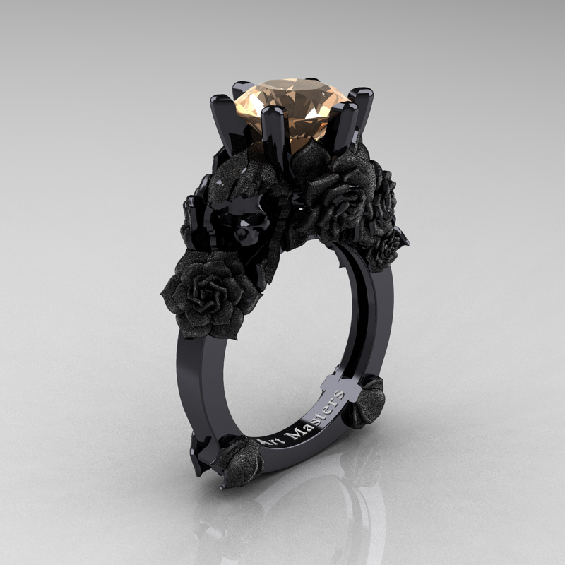Love And Sorrow 14k Black Gold 3 0 Ct Champagne Diamond