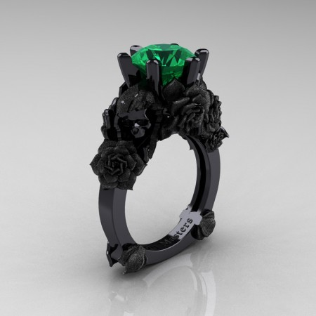 Love and Sorrow 14K Black Gold 3.0 Ct Emerald Skull and Rose Solitaire Engagement Ring R713-14KBGSEM