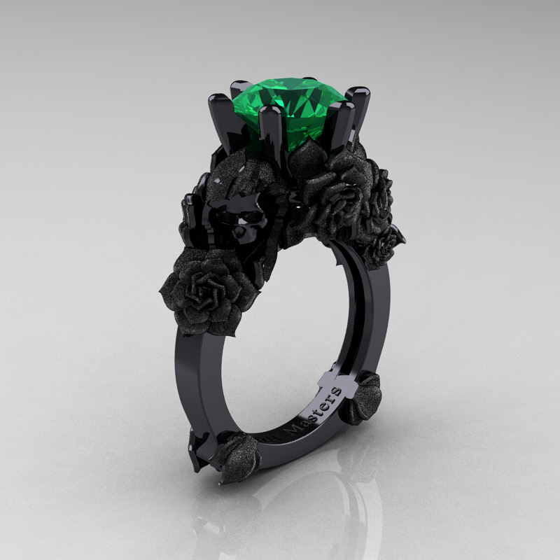 Love and Sorrow 14K Black Gold 3 0 Ct Emerald Skull and Rose