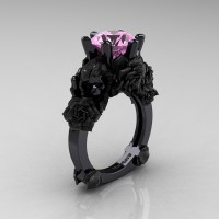 Love and Sorrow 14K Black Gold 3.0 Ct Light Pink Sapphire Skull and Rose Solitaire Engagement Ring R713-14KBGSLPS