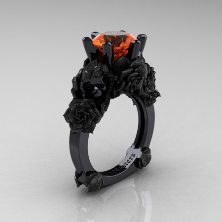 Love and Sorrow 14K Black Gold 3.0 Ct Orange Sapphire Skull and Rose Solitaire Engagement Ring R713-14KBGSOS