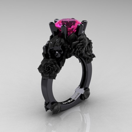 Love and Sorrow 14K Black Gold 3.0 Ct Pink Sapphire Skull and Rose Solitaire Engagement Ring R713-14KBGSPS