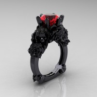 Love and Sorrow 14K Black Gold 3.0 Ct Ruby Skull and Rose Solitaire Engagement Ring R713-14KBGR
