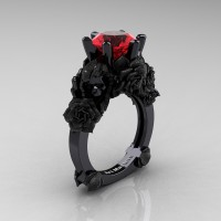 Love and Sorrow 14K Black Gold 3.0 Ct Ruby Skull and Rose Solitaire Engagement Ring R713-14KBGSR