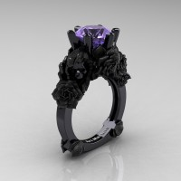 Love and Sorrow 14K Black Gold 3.0 Ct Tanzanite Skull and Rose Solitaire Engagement Ring R713-14KBGST