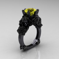 Love and Sorrow 14K Black Gold 3.0 Ct Yellow Sapphire Skull and Rose Solitaire Engagement Ring R713-14KBGSYS