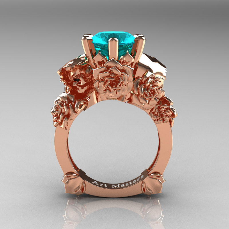 Ideal Love and Sorrow 14K Rose Gold 3.0 Ct Blue Zircon Skull and Rose  PP87