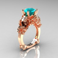 Love and Sorrow 14K Rose Gold 3.0 Ct Blue Zircon Skull and Rose Solitaire Engagement Ring R713-14KRGBZ