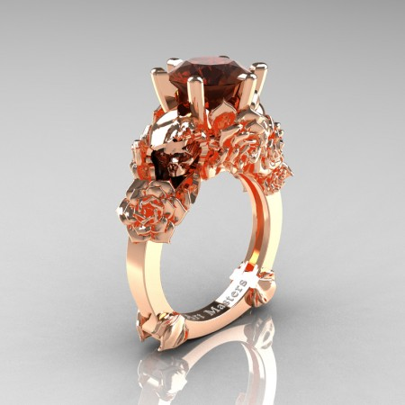 Love and Sorrow 14K Rose Gold 3.0 Ct Brown Diamond Skull and Rose Solitaire Engagement Ring R713-14KRGBRD