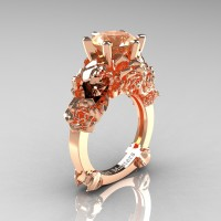 Love and Sorrow 14K Rose Gold 3.0 Ct Champagne Diamond Skull and Rose Solitaire Engagement Ring R713-14KRGCHD