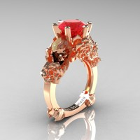 Love and Sorrow 14K Rose Gold 3.0 Ct Ruby Skull and Rose Solitaire Engagement Ring R713-14KRGR