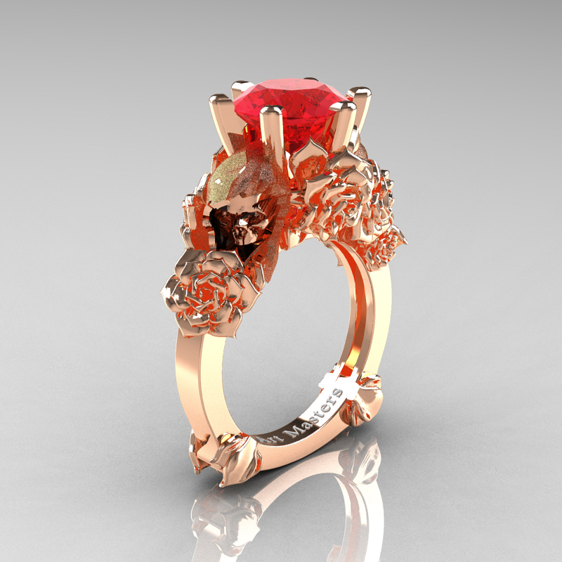 Ideal Love and Sorrow 14K Rose Gold 3.0 Ct Ruby Skull and Rose Solitaire  AM64