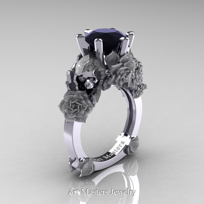 Love and Sorrow 14K White Gold 3 0 Ct Black Diamond Skull and Rose Solitaire