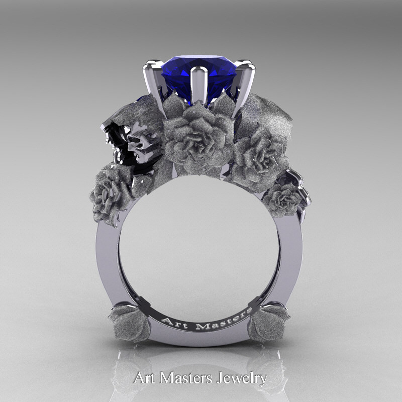Love and Sorrow 14K White Gold 3 0 Ct Blue Sapphire Skull and Rose Solitaire