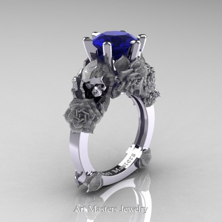 Love and Sorrow 14K White Gold 3.0 Ct Blue Sapphire Skull and Rose Solitaire Engagement Ring R713-14KWGSBS