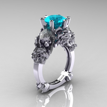 Love and Sorrow 14K White Gold 3.0 Ct Blue Zircon Skull and Rose Solitaire Engagement Ring R713-14KWGBZ
