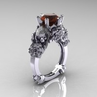 Love and Sorrow 14K White Gold 3.0 Ct Brown Diamond Skull and Rose Solitaire Engagement Ring R713-14KWGBRD