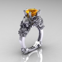 Love and Sorrow 14K White Gold 3.0 Ct Citrine Skull and Rose Solitaire Engagement Ring R713-14KWGC