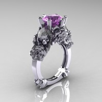 Love and Sorrow 14K White Gold 3.0 Ct Lilac Amethyst Skull and Rose Solitaire Engagement Ring R713-14KWGLAM