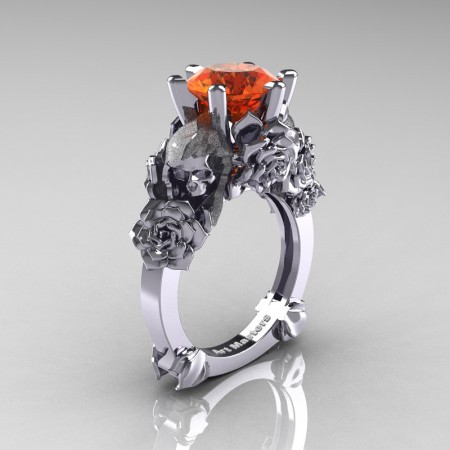 Love and Sorrow 14K White Gold 3.0 Ct Orange Sapphire Skull and Rose Solitaire Engagement Ring R713-14KWGOS