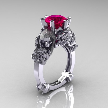 Love and Sorrow 14K White Gold 3.0 Ct Rose Ruby Skull and Rose Solitaire Engagement Ring R713-14KWGRR