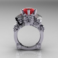 Love and Sorrow 14K White Gold 3.0 Ct Ruby Skull and Rose Solitaire Engagement Ring R713-14KWGR