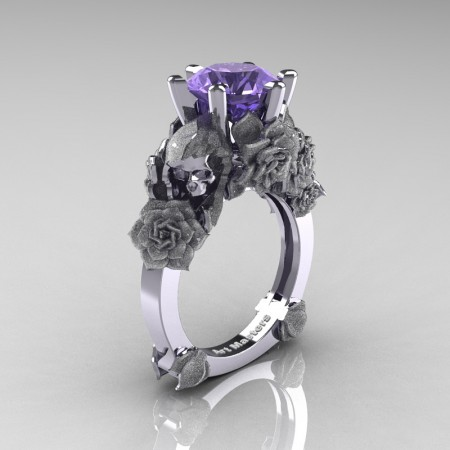 Love and Sorrow 14K White Gold 3.0 Ct Tanzanite Skull and Rose Solitaire Engagement Ring R713-14KWGST