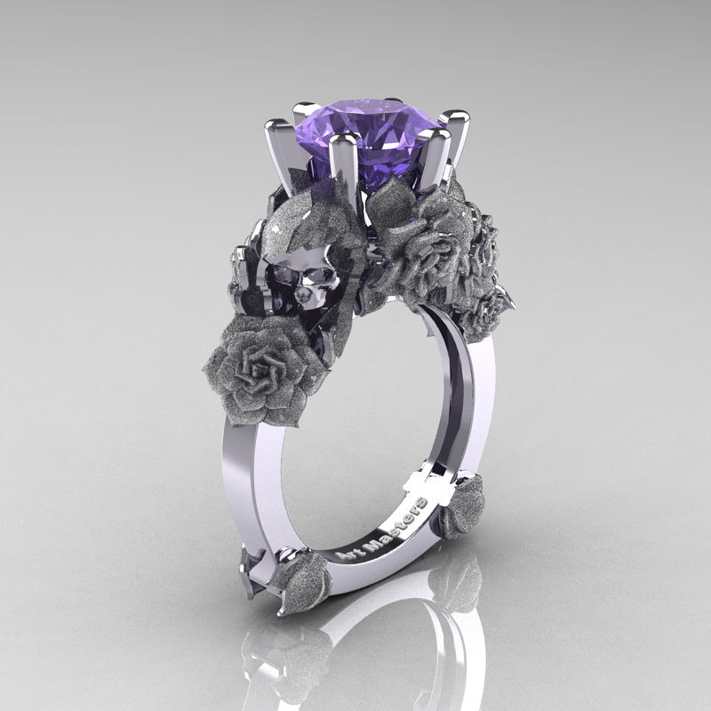Ideal Love and Sorrow 14K White Gold 3.0 Ct Tanzanite Skull and Rose  LM94