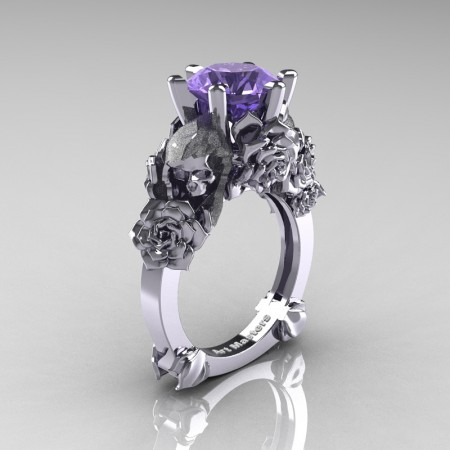 Love and Sorrow 14K White Gold 3.0 Ct Tanzanite Skull and Rose Solitaire Engagement Ring R713-14KWGT