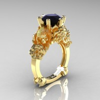Love and Sorrow 14K Yellow Gold 3.0 Ct Black Diamond Skull and Rose Solitaire Engagement Ring R713-14KYGBD