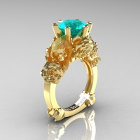 Love and Sorrow 14K Yellow Gold 3.0 Ct Blue Zircon Skull and Rose Solitaire Engagement Ring R713-14KYGBZ