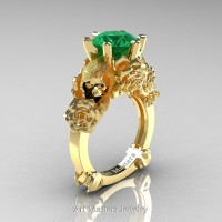 Love and Sorrow 14K Yellow Gold 3.0 Ct Emerald Skull and Rose Solitaire Engagement Ring R713-14KYGEM